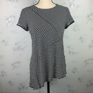 Weekends by Chico's Black Striped Asymmetrical Top